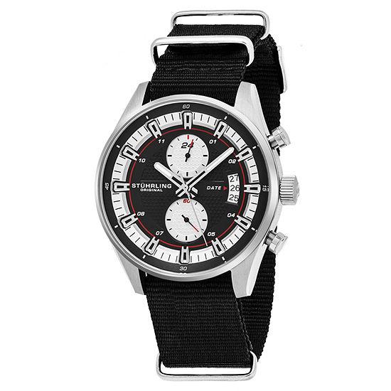Stuhrling Mens Black Strap Watch-Sp16360