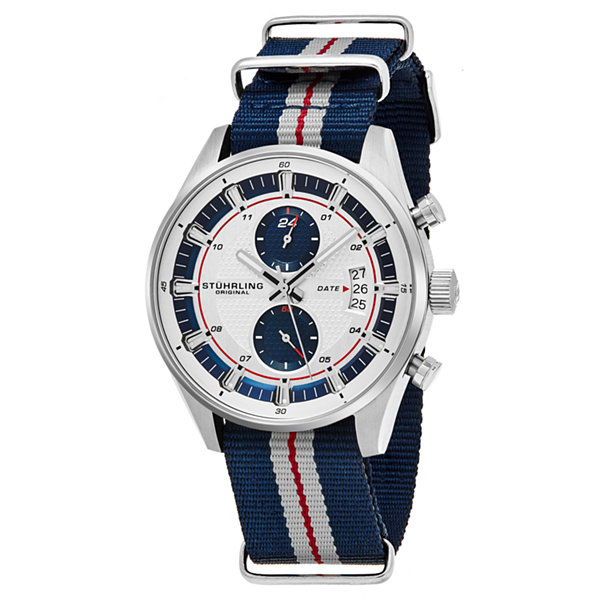 Stuhrling Mens Blue Strap Watch-Sp16361