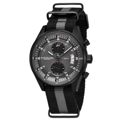 Stuhrling Mens Black Strap Watch-Sp16362