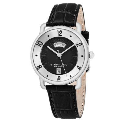 Stuhrling Mens Black Strap Watch-Sp16307