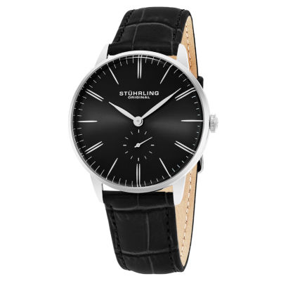 Stuhrling Mens Black Strap Watch-Sp16367