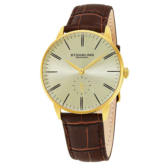 Stuhrling Mens Brown Leather Strap Watch-Sp16369
