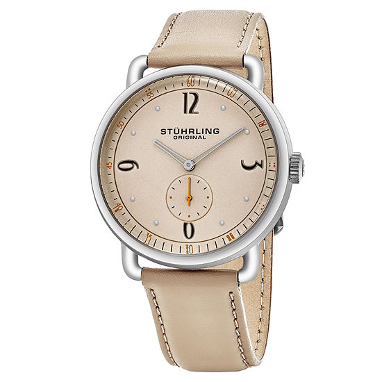 Stuhrling Mens Brown Leather Strap Watch-Sp16390