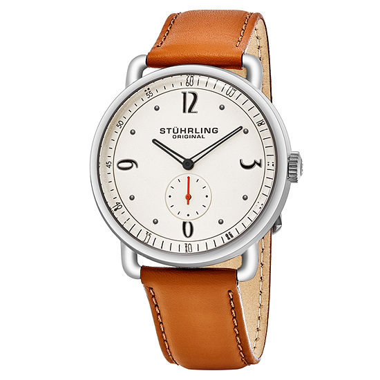 Stuhrling Mens Brown Leather Strap Watch-Sp16392