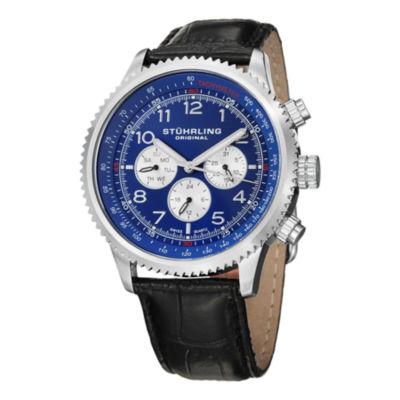 Stuhrling Mens Black Strap Watch-Sp14727
