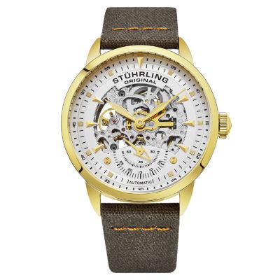 Stuhrling Mens Black Strap Watch-Sp16487