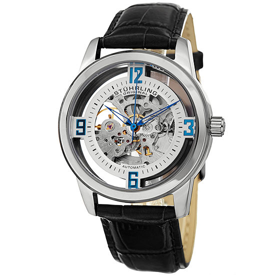 Stuhrling Mens Automatic Black Leather Strap Watch-Sp15181