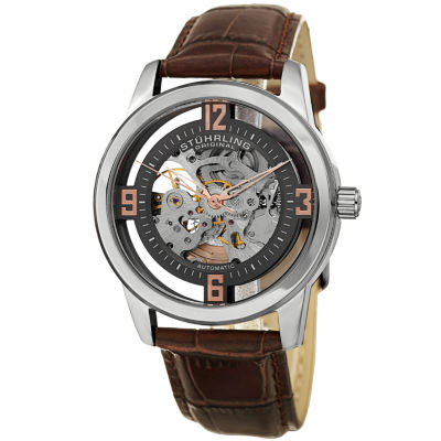 Stuhrling Mens Brown Strap Watch-Sp15352