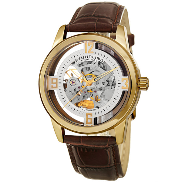 Stuhrling Mens Brown Strap Watch-Sp15353