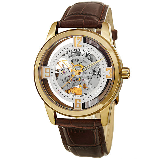 Stuhrling Mens Automatic Brown Leather Strap Watch-Sp15353