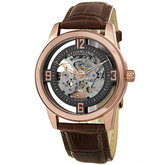Stuhrling Mens Automatic Brown Leather Strap Watch-Sp15354
