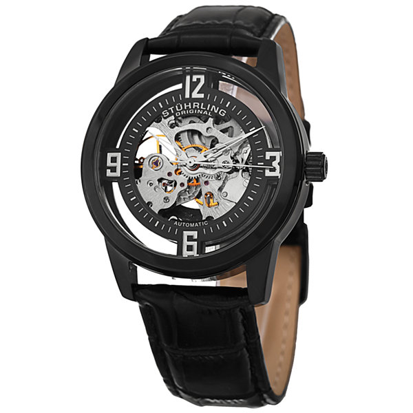 Stuhrling Mens Black Strap Watch-Sp15355