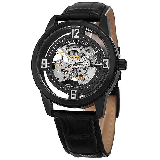 Stuhrling Mens Automatic Black Leather Strap Watch-Sp15355