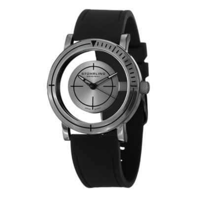 Stuhrling Mens Black Strap Watch-Sp14824