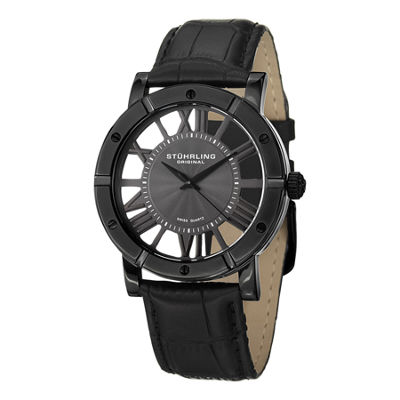 Stuhrling Mens Black Strap Watch-Sp14831