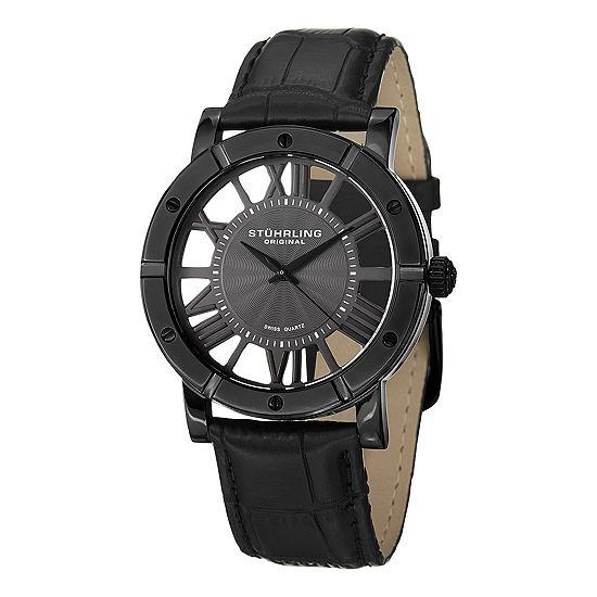 Stuhrling Mens Black Leather Strap Watch-Sp14831