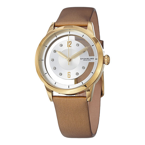 Stuhrling Womens Gold Tone Leather Strap Watch-Sp15173