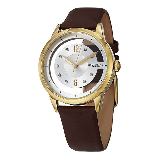 Stuhrling Womens Brown Leather Strap Watch-Sp15174