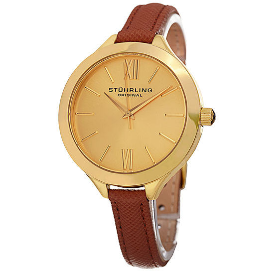 Stuhrling Womens Brown Leather Strap Watch-Sp15387
