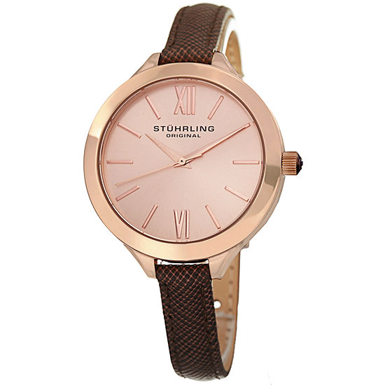 Stuhrling Womens Brown Leather Strap Watch-Sp15388