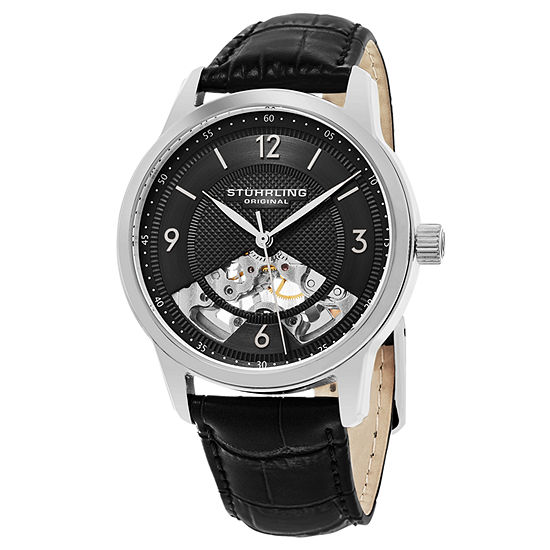 Stuhrling Mens Automatic Black Leather Strap Watch-Sp15508