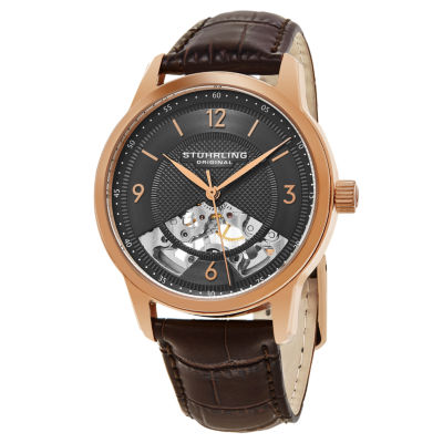 Stuhrling Mens Brown Strap Watch-Sp15510