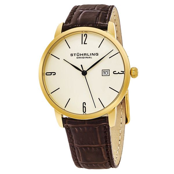 Stuhrling Mens Brown Strap Watch-Sp15663