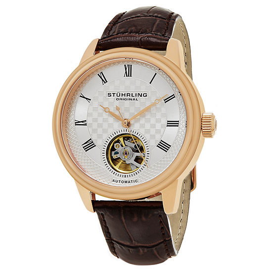 Stuhrling Mens Automatic Brown Leather Strap Watch-Sp15818