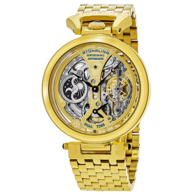 Stuhrling Mens Automatic Gold Tone Stainless Steel Bracelet Watch-Sp15833