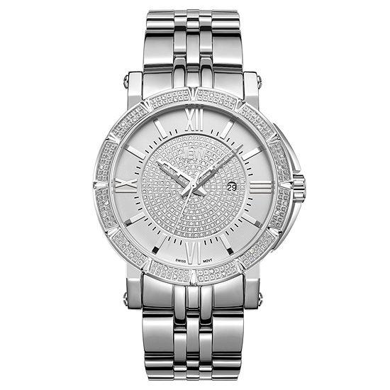 JBW Vault Stainless Steel 0.24 C.T.W Diamond Accent Mens Silver Tone Bracelet Watch-J6343b