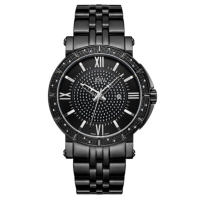 JBW Vault Black Ion-Plated Stainless Steels 0.24 C.T.W Diamond Accent Mens Black Bracelet Watch-J6343d