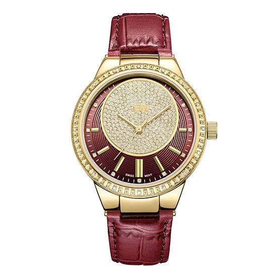 JBW Camille 1/6 CT. T.W. Genuine Diamond Red Leather Strap Watch-J6345a
