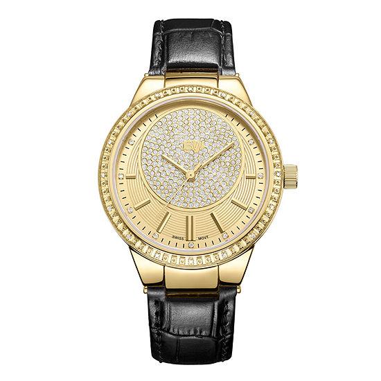 JBW Camille 1/6 CT. T.W. Genuine Diamond Black Leather Strap Watch-J6345c