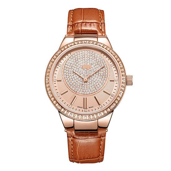 JBW Camille 1/6 CT. T.W. Genuine Diamond Brown Leather Strap Watch-J6345d