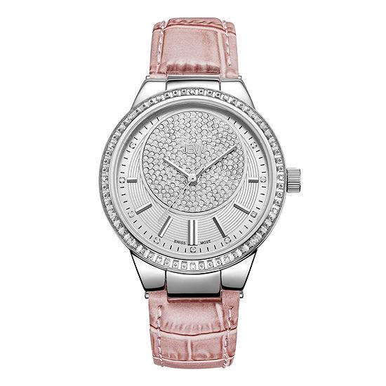 JBW Camille 1/6 Ct. T.W Genuine Diamond Womens Pink Leather Bracelet Watch-J6345e