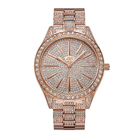 Jbw Cristal 18k Rose Gold Plated Stainless Steel 012 Ctw Diamond Accent Womens Rose Goldtone Bracelet Watch J6346b