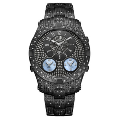 JBW Jet Setter III Black Ion-Plated Stainless Steel 1.18 C.T.W Diamond Accent Mens Black Bracelet Watch-J6348d