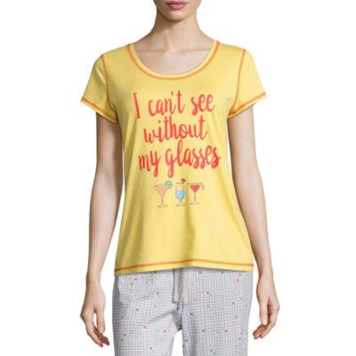Sleep Chic Short Sleeve Round Neck Pattern Pajama Top
