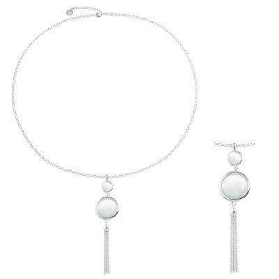 Liz Claiborne Womens White Pendant Necklace