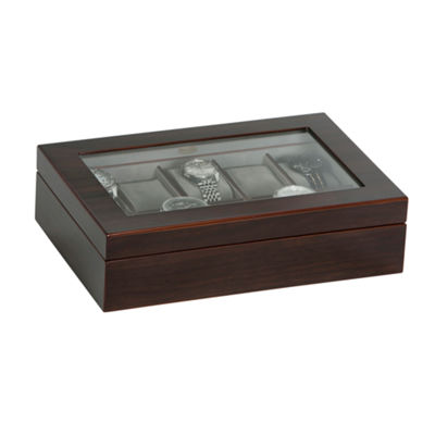 Mele & Co. Glass Top Wooden Watch Box in Mahogany Finish