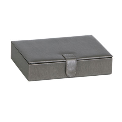 Mele & Co. Jewelry Box & Ring Case in Textured Pewter Faux Leather