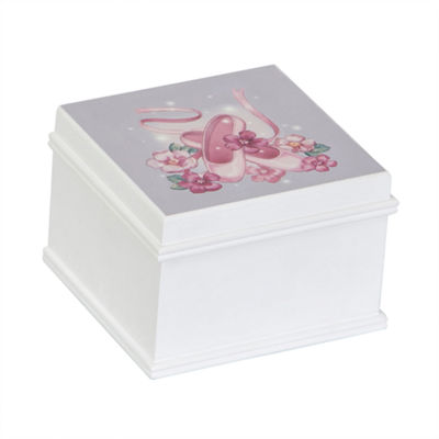 Mele & Co. Girls White Wooden Musical Ballerina Jewelry Box