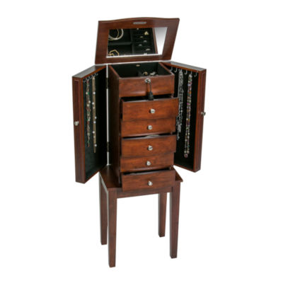 Mele & Co. Wooden Jewelry Armoire in Walnut Finish
