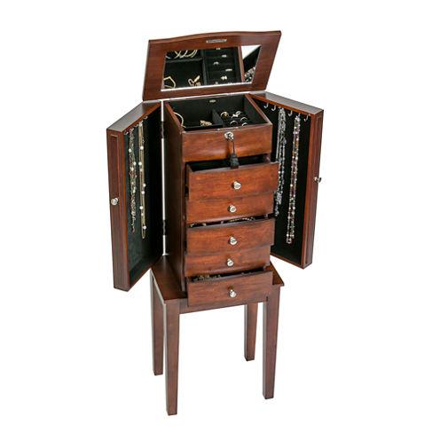 Mele & Co. Wooden Jewelry Armoire in Walnut Finish