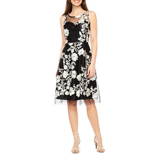 Studio 1 Sleeveless Embroidered Floral Fit & Flare Dress