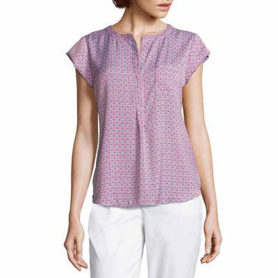 Liz Claiborne Short Sleeve V Neck Woven Blouse - Tall