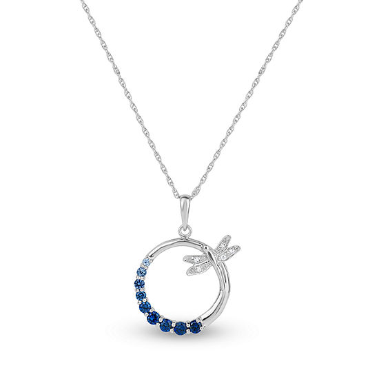 Womens Lab Created Blue Sapphire Round Pendant Necklace