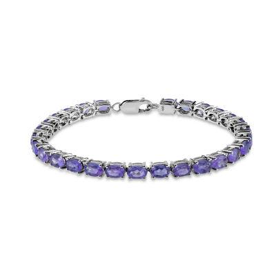 Womens 7 1/2 Inch Purple Amethyst Sterling Silver Link Bracelet