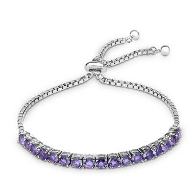 Genuine Purple Amethyst Sterling Silver Bolo Bracelet