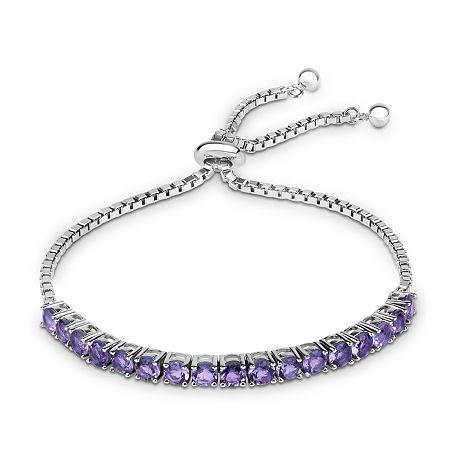 Genuine Purple Amethyst Sterling Silver Bolo Bracelet, One Size